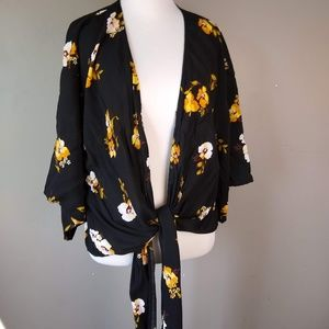 Polly & Esther | Floral Open Cardigan Front Tie